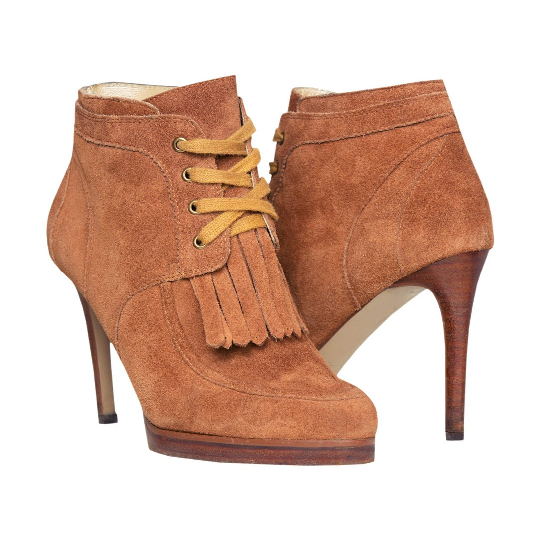 Leather high heeled ankle boots